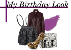 My Birthday Look #1  Chloé leather top, $865  Forever 21 skirt Suede shoes  H&M purse , $32  Topshop earrings   Bobbi Brown Cosmetics lip makeup