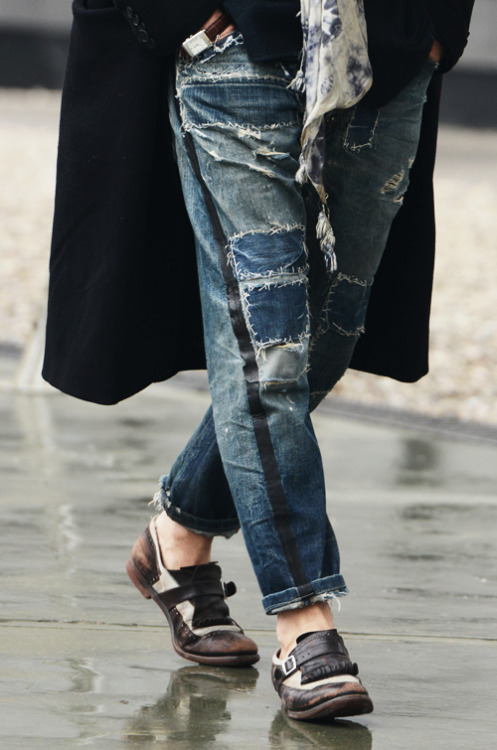 Street Style from Tommy Ton: We love these patchwork jeans