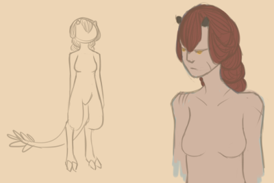 WIP and a sketch She's either a demon/imp or a satyr thing.