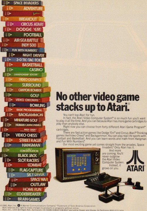 How many of these Atari videogames you had? (vía pacalin).  raaaaaaD it8bit:  No other video game stacks up to Atari (via:iamsoretro)