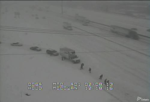 nerdfightersintheimpala:  Motorists shovelling snow off the 401 near Toronto.
