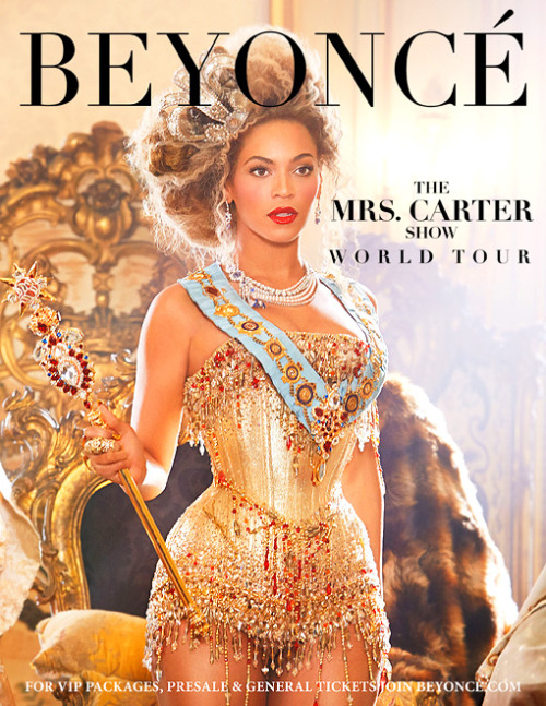 "What's The Deal… with 'The Mrs Carter Show'?Like the rest of humanity, I love Beyoncé, so when I heard a few weeks back that she was touring and coming to my city I was obviously hysterical (I will never be ready for that magnificent jelly). This is a woman who embodies female success and achievement in the most mainstream way possible - her reach is wider than that of any other performer on the planet; she has true mass appeal which is built largely on the fact that what she does is so empowering. Whilst she isn't always singing about runnin tha world (girls), the power and presence she exudes kind of makes the people who listen to her and watch her feel like they can be just as much of a bad ass bitch if they work as hard at what they want and love as she clearly has. Though I've heard her alluded to as an ambivalent figure (for seemingly according with white, patriarchal notions of beauty and femininity whilst singing about smashing them - maybe it's a sad truth that for her feminism to function on such a high level, reaching so many people, she is forced to compromise. Or, maybe that's just how she likes to look and behave), the real test is in how listening to Beyoncé makes fourteen year old girls who are bombarded from every direction with body policing and The Only Way is Essex and @ShitGirlsSay feel. I think that it makes them feel strong and powerful amidst a mainstream which often works against them feeling those things; if that isn't radical and beautiful and totally just THE POINT OF FEMINISM, I don't know what is. You can imagine my dismay, then, as I excitedly surveyed the tour poster - Queen Bey in full curvaceous regalia, sassy phallic sceptre and all - completely ready for my mind to be blown by the divalicious name she was giving to her world tour, upon seeing the words ""THE MRS CARTER SHOW"" emblazoned in her signature font, just underneath her name. That's ""Mrs Carter"", as in ""Mrs Shawn Carter"" as in ""Mrs Jay Z"" as in ""Jay Z's wife"" - I can't help feeling that Beyoncé is selling herself incredibly short here. She is Beyoncé - that's a word which now has ceased to be a name and has become a brand, an adjective, a cultural reference (tell me you don't love Michael Scott and I will show you for a liar); a word which, for so many people, conveys in its three syllables unknowable power and feeling - but she's chosen here to present herself on the world stage as simply her husband's wife.  What I'm not saying here is that being a wife (and indeed a mother) isn't a desperately important role in a woman's life, and I'm not saying either that a woman who is married to a man and decides to take his name and represent herself in that way is doing anything wrong or un-feminist (it's definitely not for me to say what constitutes feminism in anyone's life but my own - as much as everyone's hair or religion is different, so is everyone's experience of feminism), but when Beyoncé in her own right is so much more in every way than a wife or a mother (as is every woman), it's disappointing that this is how she wants to portray herself to people who love and admire her not for her private life (which until very recently she has appeared to want to keep private - she rarely speaks to the press and has so far kept her child, for the most part, away from the flashbulbs), but for her public self as a woman who is independent (throw ur hands up @ me), strong and proud of herself and who is, above all, lest we forget, astronomically talented. At this point I want to compare with ""The Mrs Carter Show"" the title of Beyoncé's last world tour. It was called ""The 'I Am' Tour"", and if that doesn't tell you everything that I'm trying to say in a nutshell, I haven't made my point well enough. 'I Am' is what we have come to expect from Beyoncé - it's direct, and it's determined, and - excuse me for a sec while I get a bit literature student on your butts - it's utterly present. Beyoncé as we know her IS; the ""I"" part of 'I Am' lets you know that she is BEYONCÉ, an individual woman with individual talents and qualities, and the ""Am"" part tells us that she's here right now, and she's making the most of it. Put together, 'I Am' is a clear, profound battle cry from this person who is a member of two marginalised social groups: ""I am here, and I'm not going anywhere"". When we compare this previous tour title with the current one, it just seems all the more disheartening. Whilst she was defined as an individual person (""I"" - note also that this is a non-gendered pronoun; it simply allows the speaker to refer to him or herself), she is now defined totally in terms of a) her gender (this is not necessarily a negative) and b) someone else's name, when, as I've already discussed, her own name already means so very much.Why, then, the turnaround? Beyoncé's life has changed considerably since she last toured because she has become a mother; maybe she considers this new position to be - as many women do - the most important in her life, and the one for which she wishes to be remembered. Or perhaps Mrs Carter is as much of a character as Sasha Fierce, after whom Beyoncé named her 2008 album - this could all just be Madonna-esque chameleonism (yep I just invented a word what are you going to do about it) set about to make thousands of bloggers like me muse over her decisions whilst eating properly loads of custard creams. She might have chosen it in order to prove that one can be a wife and mother and a career-owning powerhouse all at the same time: there are enough people who say you can't for this to have been a valid, pro-feminist choice. I could make a list of positive reasons for Beyoncé's naming this tour the way she has as long as Azealia Banks' weave, but I think I'll always inevitably go back to feeling a bit sad about it. As one of those people for whom the word ""Beyoncé"" symbolises a lot about womanliness and female success and human talent, I can't help but feel that 'Mrs Carter' puts her in a box, normalising her and making her into less of a force of nature and more like the rest of us mortals, when part of her magic is that she's, well, magic. Whatever her choice was based on, I'm certain that it hasn't been made by accident; though I can't say I wholeheartedly agree with it, if it helps in Beyoncé's eventual rise to the position of either Queen of the World or President of the United States of America (whichever comes first) I'll try to understand it.   - words by Lauren♡ *Grace Dent wrote a cracking article along some of the same lines as this one about Beyoncé's name and about bride's names in general, not sure I 100% agree with everything said but it's brilliant and way more coherent than this so go read it!"