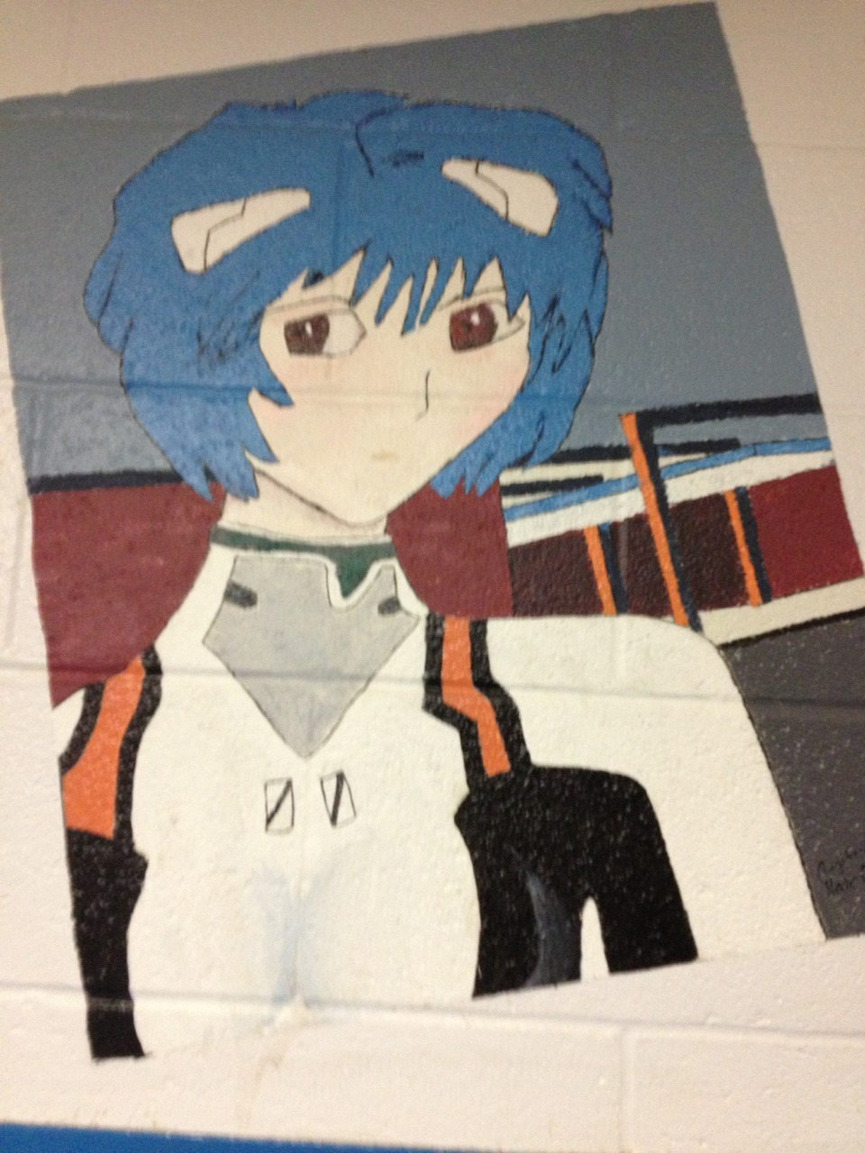 tallesbian:  did you know that in my school there's a giant painting of Rei on the wall  most people just call it blue anime lady