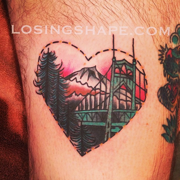 losingshape:  Did matching Portland tats today. This one is on Dominick! Sitting next to a sweet @stevieedge tattoo! It's a little warped in the pic. (at Blacklist Gallery And Tattoo)