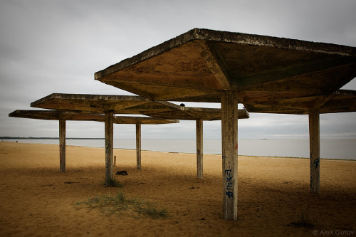 architectureofdoom:  Concrete umbrellas on the beach of Solnechnoye (St. Petersburg)