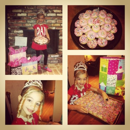 Joy rockin the birthday tiara!!  Happy happy day beautiful!  #big8 #shehadtowearred #34organicdonuts #caniopenprezyet #happybirthday!