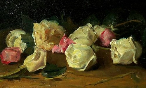 stilllifequickheart:  Gustave Courbet Pink and White Roses 19th century