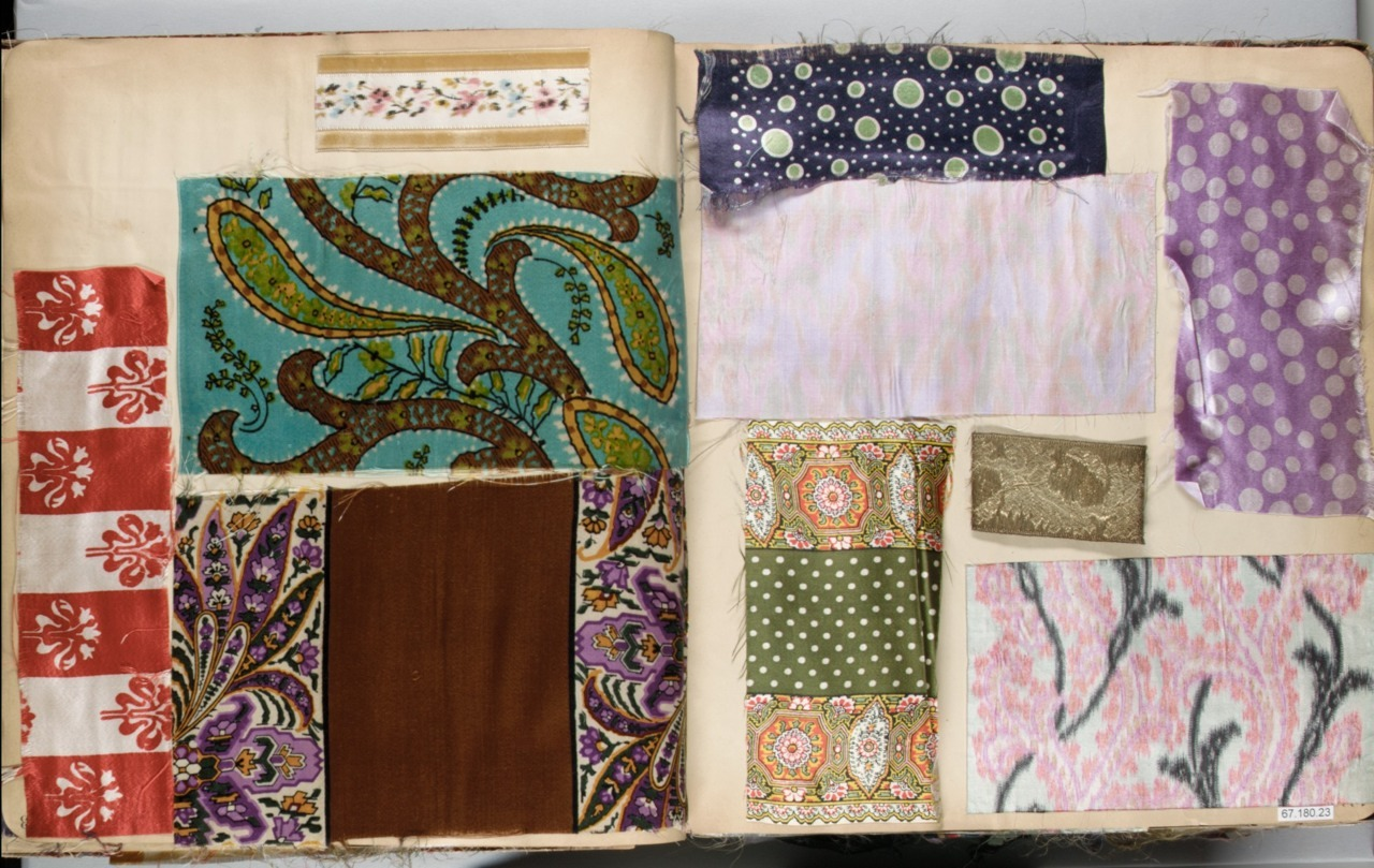 thevintagethimble: A Collection of Textile Sample Books. (18th & 19th Century) Sample books were extremely popular way for manufactures or seamstress to show of their wares. Most sample books began showing up in the 18th century when fabric weaving was becoming more commercial. These Sample books really took off during the Victorian era when the industrial revolution hit and bigger, more complex gowns came back into fashion again. | ↳ sources THE MET & V&A