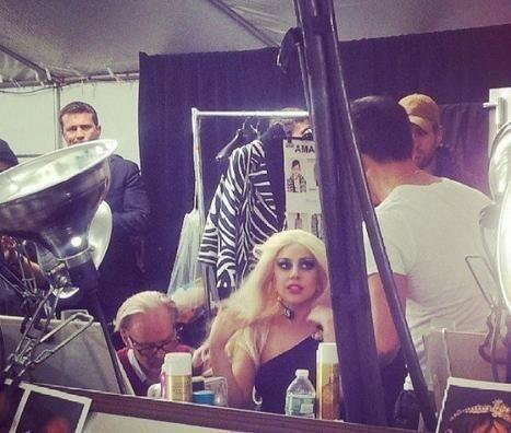 Gaga backstage at the Versus Versace Fashion show