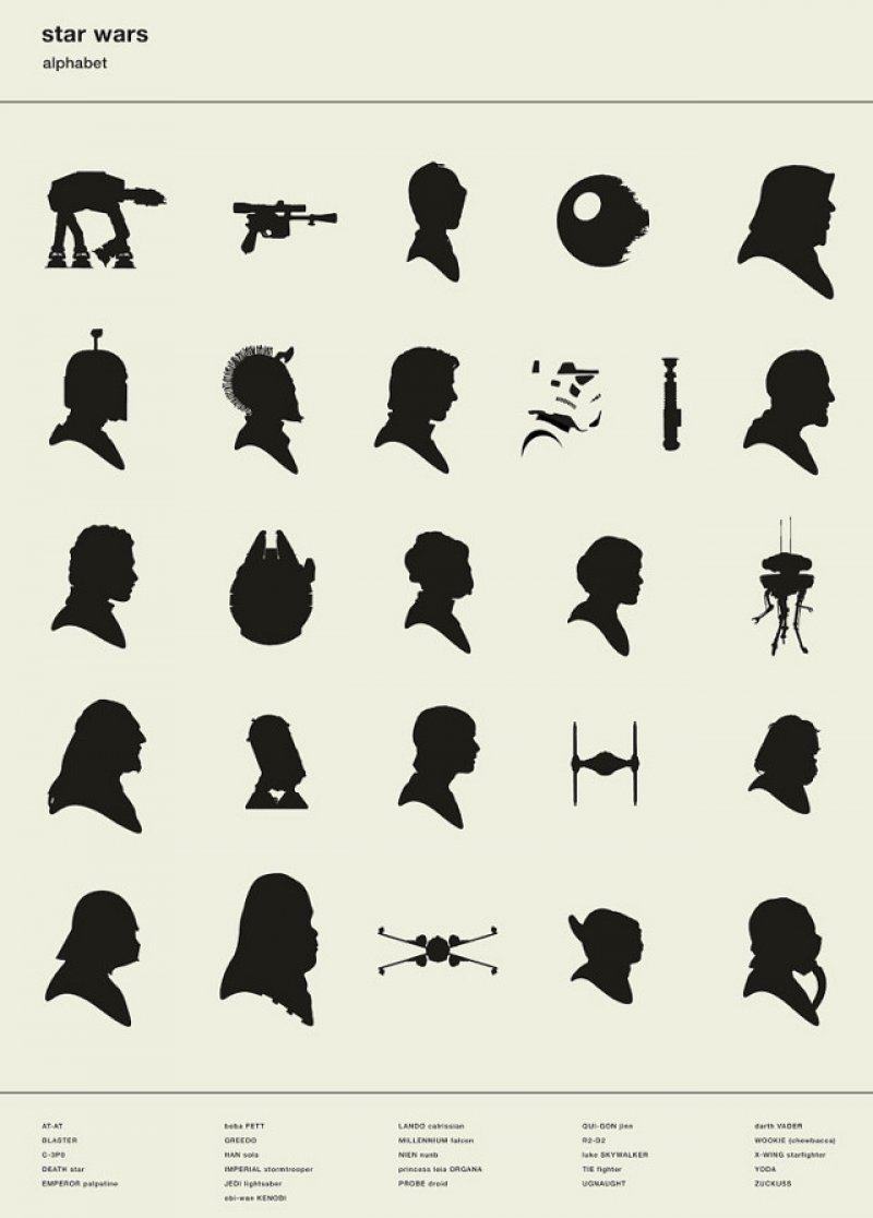 dorkly:  Star Wars Silhouette Alphabet May the ABCs be with you.