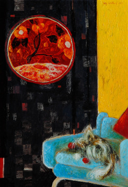 darksilenceinsuburbia:  Josip Lizatovic. Interior with Dog. Oil on board, 24 x 24 cm.  Thank you http://frou-frou-stration.tumblr.com/ for suggesting me this artist.