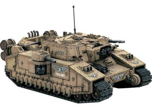 Imperial Guard 'Stormlord' Super-Heavy Tank. Mounts a Vulcan Mega-Bolter, the same sort utilized by Titans. I just really love how it looks with that short little stumpy bolter mount.