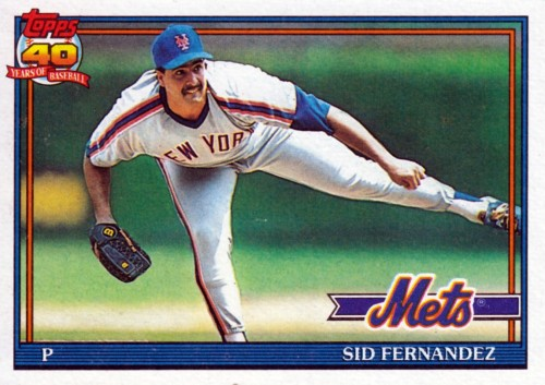 Random Baseball Card #2380: Sid Fernandez, pitcher, New York Mets, 1991, Topps.