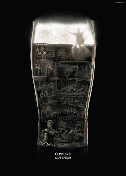 "Guinness' Made of More print advertising campaign brings together the drink and the drinker, using visual craft to illustrate three journeys to greatness. This is the ""Rockstar"" ad, it uses illustrative photography to portray the path to the stage."