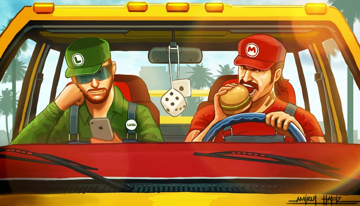 insanelygaming:  Mario & Luigi Illustration Created by Amirul Hafiz