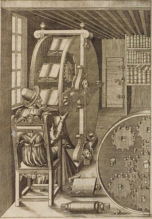 "explore-blog:  Long before there was the Kindle, there was the 16th-century book wheel by Italian engineer Agostino Ramelli, an ambitious reading ""interface"" that would allow the reader to browse and reference multiple books. Complement with other vintage versions of modern social technology, then wash down with 27 of history's strangest inventions."