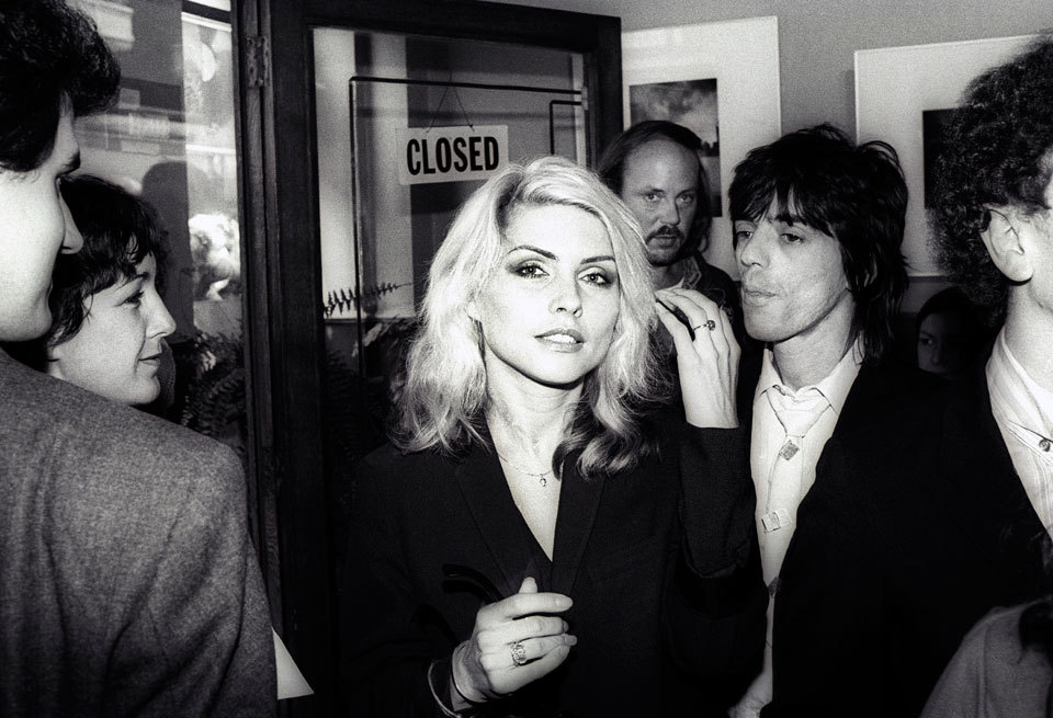 D is for Debbie Harry Blondie lead singer and punk icon. Blondie's Debbie Harry and Chris Stein at the opening of Mirandy Gallery's Blondie in Camera exhibition in London, 1978, photographed by Martyn Goddard/Corbis