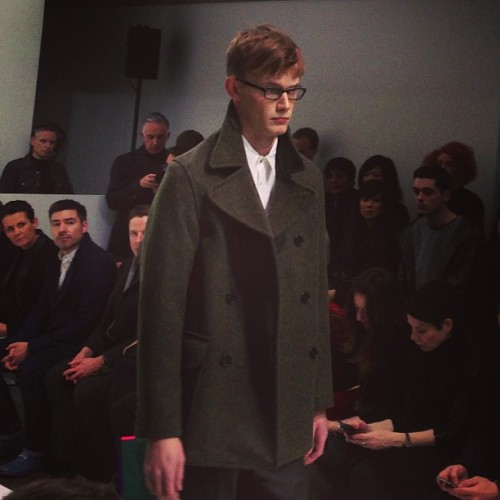 Margaret Howell gives good peacoat. #londoncollections