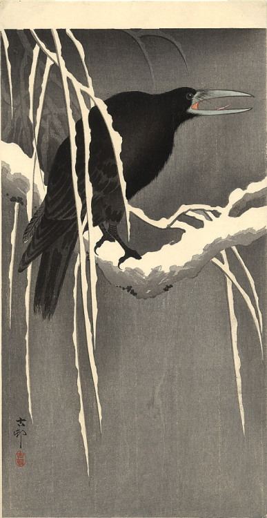 dystopiaherenow:  Some crow art by Ohara Koson.