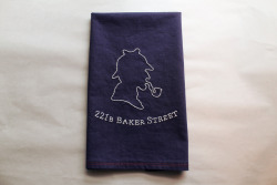 birthday present for a sherlock holmes fan. embroidery on linen/cotton with sashiko thread