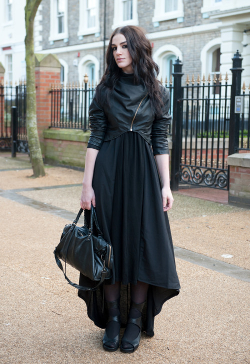 faiiint:  FAIIINT (Handmade) Draped Leather Jacket / ASOS Maxi Dress / Rick Owens Wedges / Balenciaga City http://www.faiiint.com/faiiint/2013/03/maxi-outfit/