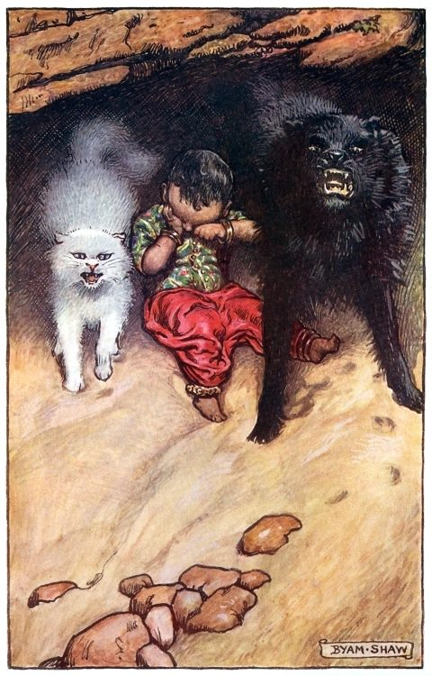 Baby Akbar sitting up and rubbing his eyes.  Byam Shaw, frontispiece from The adventures of Akbar, by Flora Annie Steel, London, 1913.  (Source: archive.org)