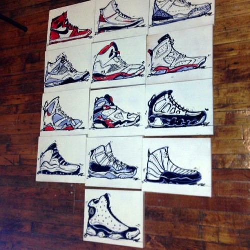 "The Jumpman collection ""Lift Off"" is being sold for $250 for the set (1-13) and $23 each. To purchase please email FlacoShalom@me.com  #flacoshalom #jumpman #jumpman23 #art #igsneakerhead #igsneakercommunity #sneakerhead #airjordan #jordan #michaeljordan  (at The Untitled Bottega)"