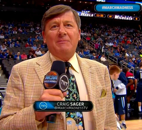 3/22/2013 - Villanova vs. North Carolina Craig Sager 1st quarter sideline report (close-up)
