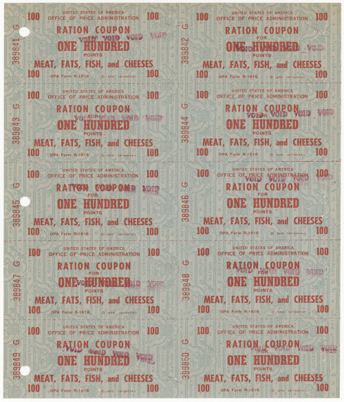 todaysdocument:   Ration Coupon for Meat, Fats, Fish, and Cheeses From the Records of the Office of Price Administration   The rationing of meat, butter, and cheese began during World War II on March 29, 1943.