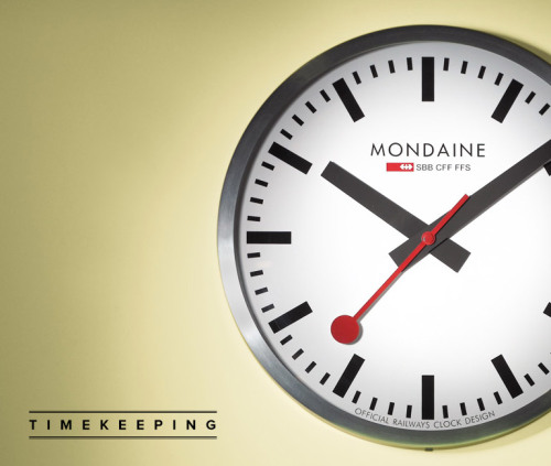 Timekeeping: Mondaine Swiss Railway Clock. If train A leaves at 10:05 and Train B leaves at 11:00 going 10 mph faster, how long does it take you to pry the clock off the station wall?