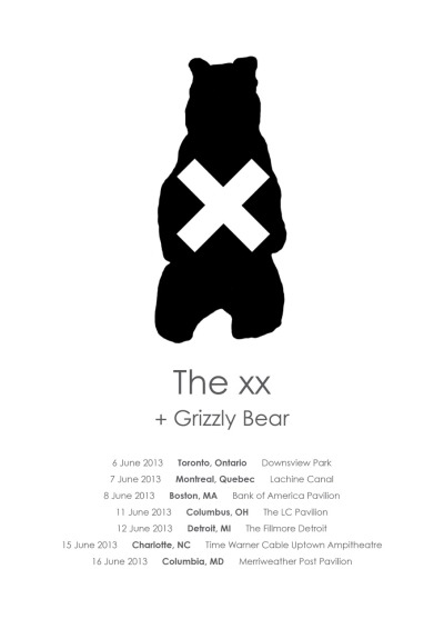 thexxsoundboard:  We will be back in the USA and Canada in May and June. Playing some of our biggest stages yet. The incredible, Grizzly Bear will be joining us for some of those shows. It will be an honour to share the stage with them. xx The xx