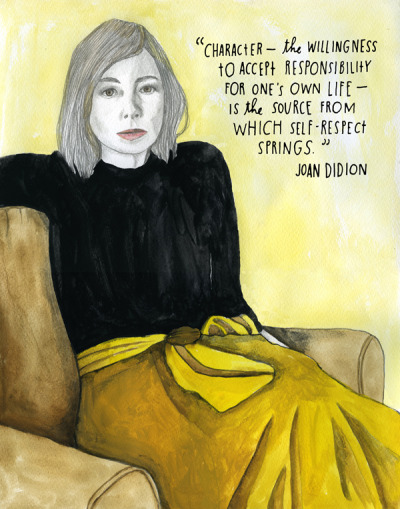 nevver:  Joan Didion  My favorite Didion quote out of Slouching Towards Bethlehem is in On Keeping a Notebook:   I think we are well advised to keep on nodding terms with the people we used to be, whether we find them attractive company or not.   Pick up the books of Joan Didion @ your library by clicking here.