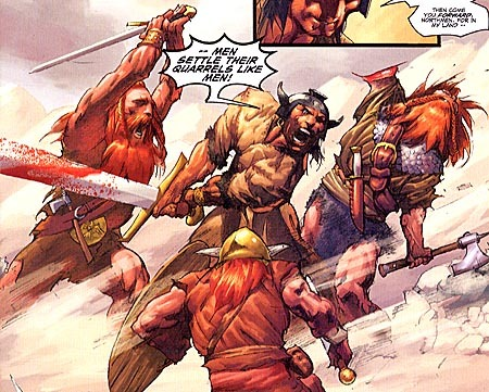 I been reading the Dark Horse Conan series and its really having a serious impact on me. I wanna to live my live by the WWCD credo, but smacking women and then bedding them doesn't quite solve problems the way I need it to.  And wouldn't you know it, but cutting someone open NEVER works on the sales floor.