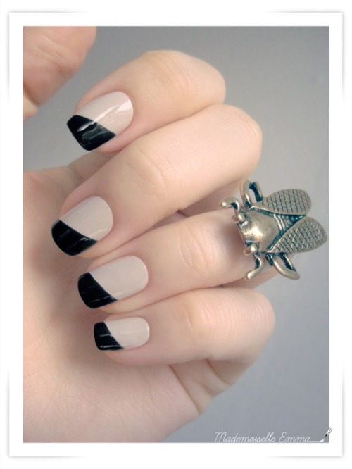 Cute Spring Nails  Black and Nude