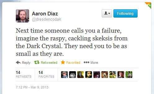Aaron Diaz (of Dresden Codak) on naysayers. How can you not love a reference to the Skesis?