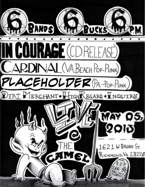 this show is on sunday at the camel 6 bands. 6. bucks. 6pm. cinco de mayo. don't miss this!