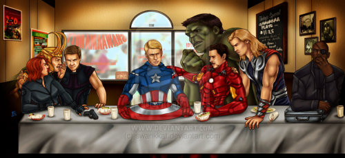 "swankkat:  The Avengers' Last Supper by ~swankkat The Avengers (c) Marvel Details: Woo-boy. This was a labor of love, commissioned by ~2138 on DeviantArt. Her request was, in a story she wrote, a character ""mention[ed] in passing that she owned a portrait of the MCU Avengers posed as DaVinci's The Last Supper"" and how supergeekycool it would be to have it actualized. The sketching started in late January, with the finalized design agreed upon in February. I've been working in long spurts of activity since, finally completing last night. Got the approval this morning to post, so here we are. More details on dA, where the art can also be viewed at a slightly larger resolution.Please help artists keep their art: instead of reposting, please reblog this entry, or link to the source on deviantart. Thank you.   Kat is seriously one of the most amazing artists I have the pleasure of knowing, and she is currently open for commissions (a rare opportunity!).    Actually, I'm reblogging this to remind myself to ask about a realistic version of my two derps characters…"