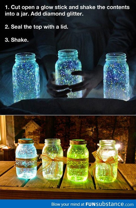 lizziemaggio:  Glow stick jar - FunSubstance.com on We Heart It - http://weheartit.com/entry/61940814/via/LizzieMaggio   Hearted from: http://FunSubstance.com/