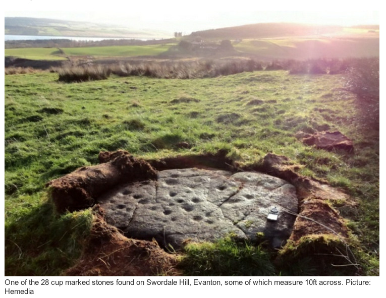 "Largest' Scottish ancient artworks revealed A RETIRED silversmith has ­uncovered the largest collection of ancient rock art ever found in the Highlands on a remote hill overlooking the Cromarty Firth.    The carved rocks – some ­almost 10ft across – have been discovered scattered across a hillside near Evanton, in ­Ross-shire. Douglas Scott, the amateur archaeologist who has recorded the remarkable find, believes the ""cup-marked"" rocks – dating from up to 5,000 years ago to the Neolithic or Bronze Age – form part of a ""ritual centre of some significance"" where ancient people worshipped the sun and performed rites connected to the ­underworld.  Mr Scott, 64, from Tain, has found and recorded a total of 28 carved rocks on Swordale Hill – Druim Mor in Gaelic – and lodged his remarkable discovery with the Highland Historic Environment Record and the Royal Commission on Ancient ­Monuments. http://www.scotsman.com/the-scotsman/scotland/largest-scottish-ancient-artworks-revealed-1-2780498"