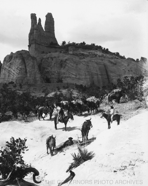 Pack Train at Navajo Church Rock Near Fort Wingate, New Mexico - ca 1885 Photo By: Ben Wittick Negative #016312