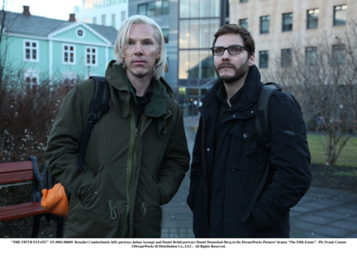 "amyohconnor:  Benedict Cumberbatch as Julian Assange and Daniel Bruhl as Daniel Domscheit-Berg in a still from the upcoming Julian Assange biopic ""The Fifth Estate"".  I'm sure the Wikileaks Twitter account is currently raging about how Benedict Cumberbatch looks nothing like Assange."