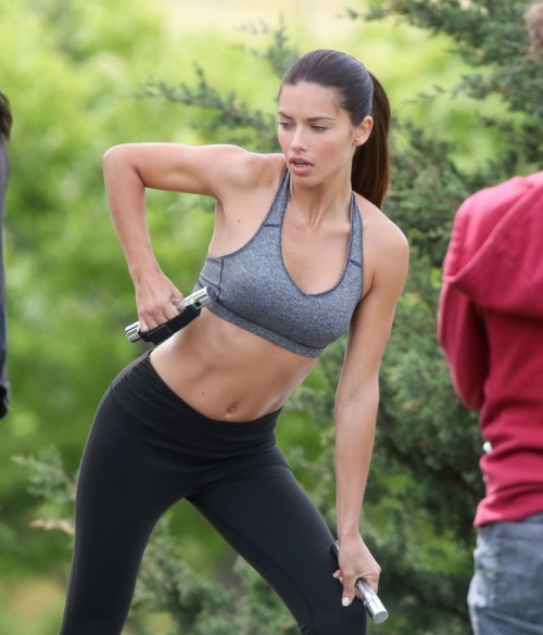 celeb-hs:  Adriana Lima working out in NYC for VSX May 18, 2013