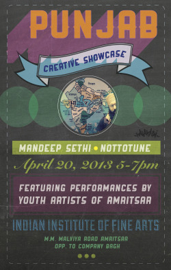 nishasembi:  Flyer design for youth artists in Amritsar, Punjab- India. Inspired by hand-painted signage in the Punjab region.