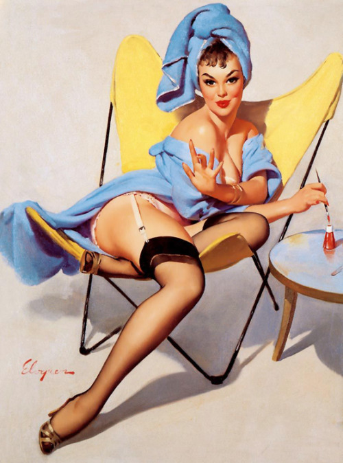 "vintagegal:  ""The Finishing Touch"" by Gil Elvgren, 1960"