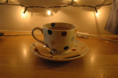 dungareeswineandapathy:  Quintessential. on Flickr. My new tea cup is really cute.