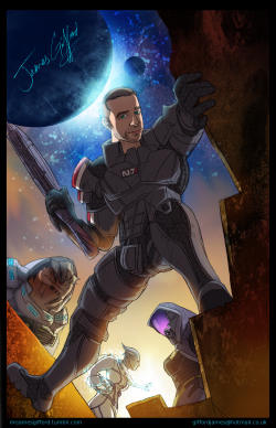 Caricature commission, the person wanted to be drawn as Commander Shepard from Mass Effect.
