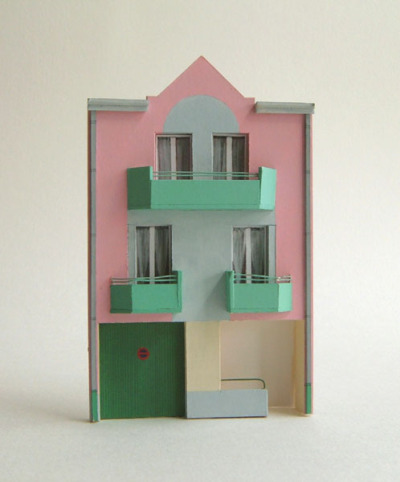 Pink House (Picardie, France) by Louise Bristow.  This is my favourite of her models. She constructs 3D scenes which she then paints 2D scenes from. The paintings that result have a very special quality which, as a maker, I love.