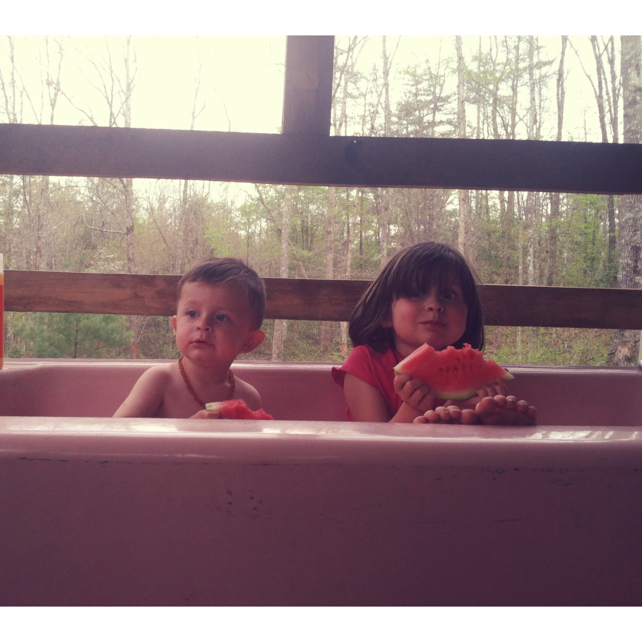 To be a kid again! 🍉🛁