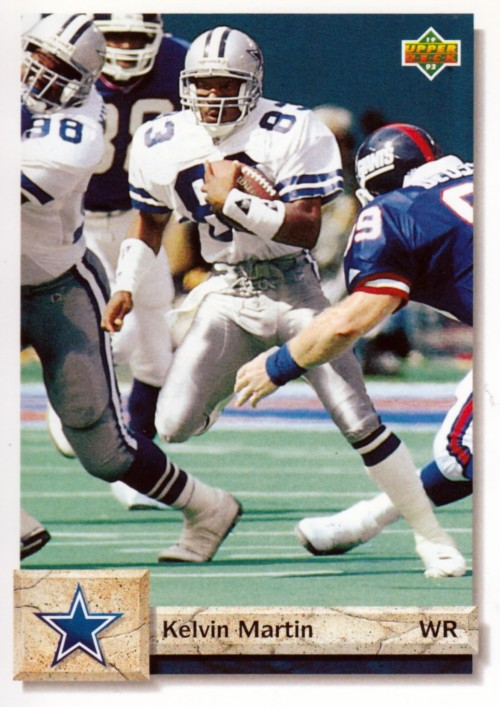 Random Football Card #169: Kelvin Martin, wide receiver, Dallas Cowboys, 1992, Upper Deck.