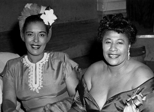 wehadfacesthen:  Billie Holiday and Ella Fitzgerald, 1950s via kinggregree